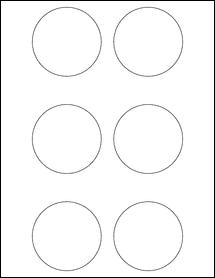 "Sheet of 2.75"" Circle Aggressive White Matte labels"