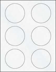 "Sheet of 3"" Circle Clear Matte Inkjet labels"