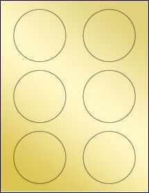 """Sheet of 3"""" Circle Gold Foil Laser labels"""