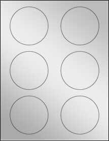 "Sheet of 3"" Circle Silver Foil Laser labels"