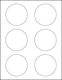 """Sheet of 3"""" Circle Weatherproof Gloss Inkjet labels"""