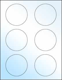 "Sheet of 3"" Circle White Gloss Laser labels"