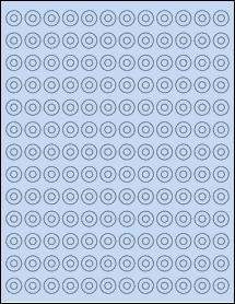 """Sheet of 0.5625"""" Circle Pastel Blue labels"""