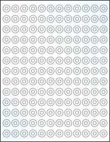 "Sheet of 0.5625"" Circle Clear Gloss Inkjet labels"