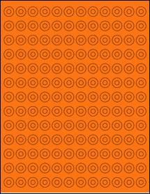 "Sheet of 0.5625"" Circle Fluorescent Orange labels"