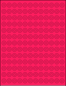 """Sheet of 0.5625"""" Circle Fluorescent Pink labels"""