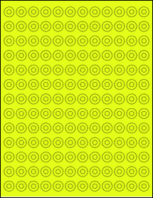 "Sheet of 0.5625"" Circle Fluorescent Yellow labels"