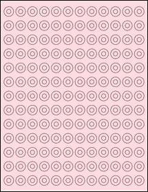 """Sheet of 0.5625"""" Circle Pastel Pink labels"""