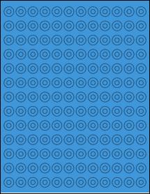 "Sheet of 0.5625"" Circle True Blue labels"
