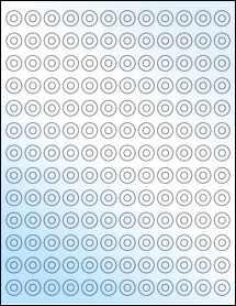 "Sheet of 0.5625"" Circle White Gloss Inkjet labels"