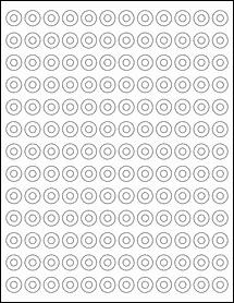 """Sheet of 0.5625"""" Weatherproof Matte Inkjet labels"""