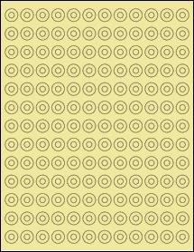 """Sheet of 0.5625"""" Circle Pastel Yellow labels"""