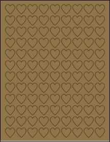 """Sheet of 0.75"""" x 0.75"""" Brown Kraft labels"""