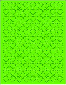 """Sheet of 0.75"""" x 0.75"""" Fluorescent Green labels"""