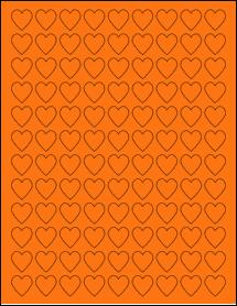 "Sheet of 0.75"" x 0.75"" Fluorescent Orange labels"
