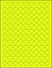 "Sheet of 0.75"" x 0.75"" Fluorescent Yellow labels"