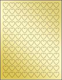 """Sheet of 0.75"""" x 0.75"""" Gold Foil Laser labels"""