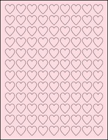 "Sheet of 0.75"" x 0.75"" Pastel Pink labels"