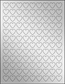 """Sheet of 0.75"""" x 0.75"""" Silver Foil Inkjet labels"""