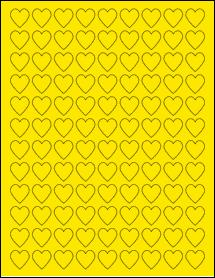 "Sheet of 0.75"" x 0.75"" True Yellow labels"