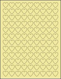 "Sheet of 0.75"" x 0.75"" Pastel Yellow labels"
