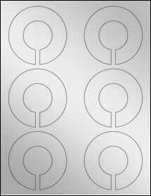 """Sheet of 3.25"""" x 3.25"""" Silver Foil Inkjet labels"""