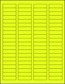 "Sheet of 1.75"" x 0.5"" Fluorescent Yellow labels"