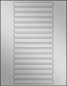 "Sheet of 5"" x 0.5"" Weatherproof Silver Polyester Laser labels"