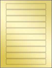 """Sheet of 6.5625"""" x 0.875"""" Gold Foil Laser labels"""
