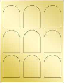 "Sheet of 2.25"" x 3"" Gold Foil Laser labels"