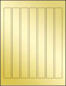 """Sheet of 0.9375"""" x 9.0625"""" Gold Foil Inkjet labels"""