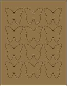 """Sheet of 2.2901"""" x 2.1094"""" Brown Kraft labels"""