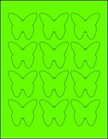 """Sheet of 2.2901"""" x 2.1094"""" Fluorescent Green labels"""