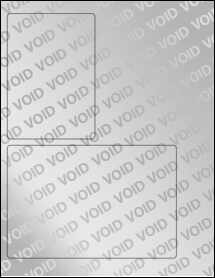"""Sheet of 3.5"""" x 5"""", 6.75"""" x 4.5"""" Void Silver Polyester labels"""