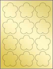 """Sheet of 2.4565"""" x 2.3962"""" Gold Foil Laser labels"""