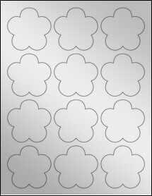 """Sheet of 2.4565"""" x 2.3962"""" Silver Foil Inkjet labels"""