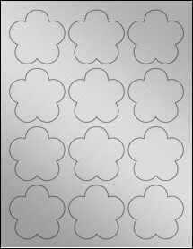 "Sheet of 2.4565"" x 2.3962"" Weatherproof Silver Polyester Laser labels"
