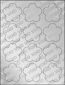 """Sheet of 2.4565"""" x 2.3962"""" Void Silver Polyester labels"""