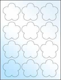 """Sheet of 2.4565"""" x 2.3962"""" White Gloss Inkjet labels"""