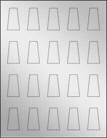 """Sheet of 0.975"""" x 1.76"""" Silver Foil Inkjet labels"""
