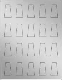 "Sheet of 0.975"" x 1.76"" Weatherproof Silver Polyester Laser labels"