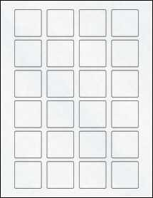 "Sheet of 1.5"" x 1.5"" Square Clear Matte Inkjet labels"