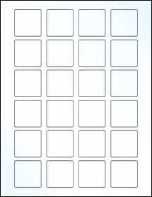 """Sheet of 1.5"""" x 1.5"""" Square Clear Gloss Inkjet labels"""