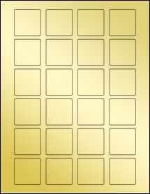 """Sheet of 1.5"""" x 1.5"""" Square Gold Foil Inkjet labels"""