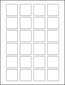 """Sheet of 1.5"""" x 1.5"""" Square 100% Recycled White labels"""