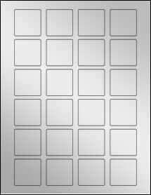 "Sheet of 1.5"" x 1.5"" Square Silver Foil Laser labels"