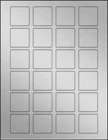 """Sheet of 1.5"""" x 1.5"""" Square Weatherproof Silver Polyester Laser labels"""