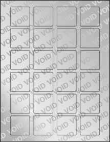 "Sheet of 1.5"" x 1.5"" Square Void Silver Polyester labels"