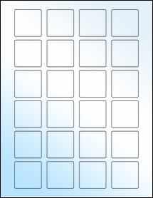 "Sheet of 1.5"" x 1.5"" Square White Gloss Inkjet labels"
