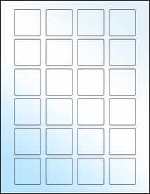 """Sheet of 1.5"""" x 1.5"""" Square White Gloss Laser labels"""